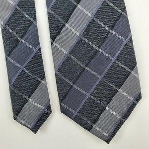 Kenneth Cole Reaction Check Black Gray Silk Tie 57